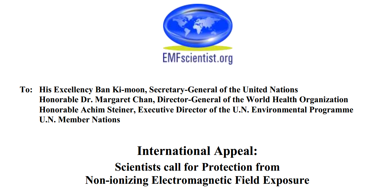 """a97af45c0a3 Originaal: """"International Appeal: Scientists call for Protection from  Non-ionizing Electromagnetic Field Exposure"""""""
